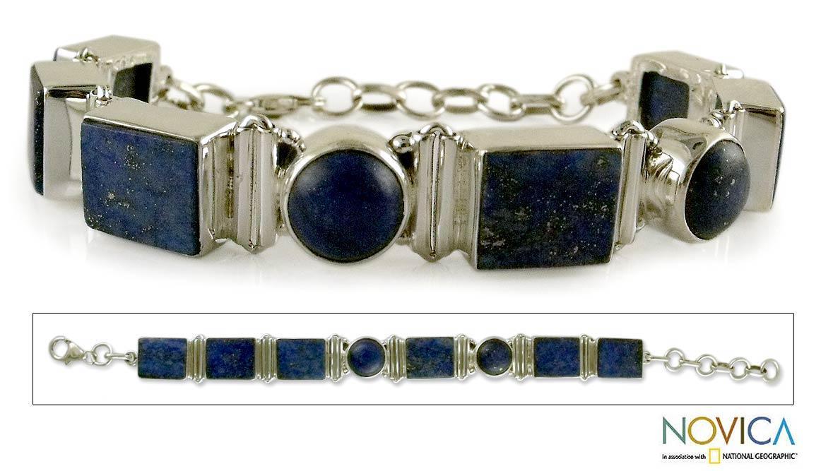 Sterling Silver 'Connected' Lapis Lazuli Link Bracelet (India)