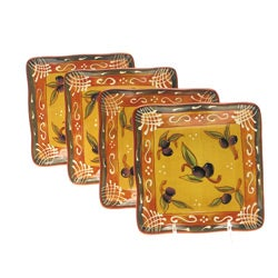 Certified International French Olives Canape Plate (Set of 4)
