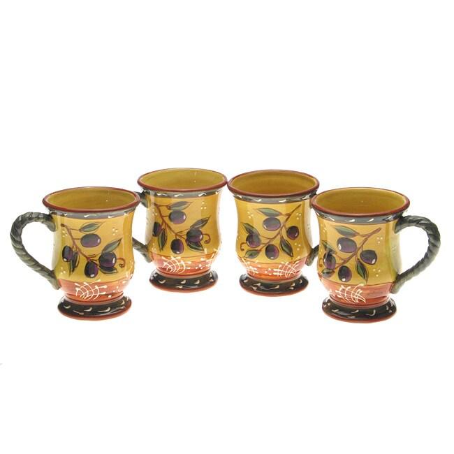 Certified International French Olives 18-oz Mug Set (Pack of 4)