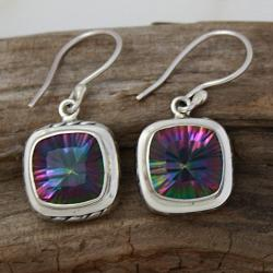 Sterling Silver Square Mystic Quartz Cable Earrings (Indonesia)