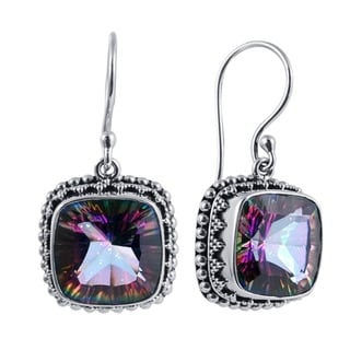 Sterling Silver Square Exotic Quartz Bead Earrings (Indonesia)
