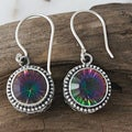 Silver Round Mystic Quartz Bali Filigree Earrings (Indonesia)