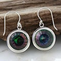 Sterling Silver Mystic Quartz Round Dangle Earrings (Indonesia)