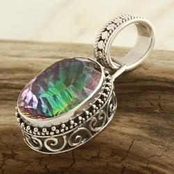 Sterling Silver Exotic Quartz Large Oval Bali Pendant (Indonesia)