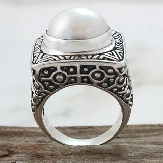 Sterling Silver Detailed Square Mabe Pearl Dome Ring (13 mm) (Indonesia)
