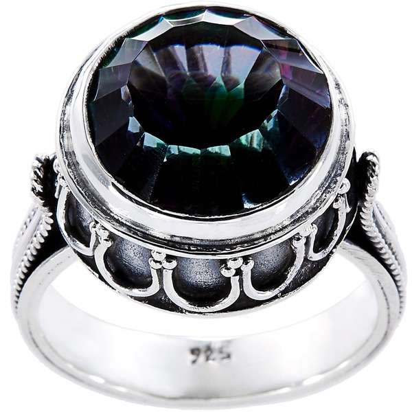 Sterling Silver Round Mystic Fire Topaz Detailed Band Ring (Indonesia)