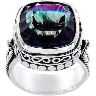 Sterling Silver Square Mystic Fire Quartz Luxury Ring (Indonesia)