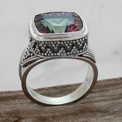 Sterling Silver Square Exotic Fire Quartz Beaded Mount Ring (Indonesia)