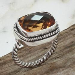 Sterling Silver Faceted Citrine Cable Ring (Indonesia)