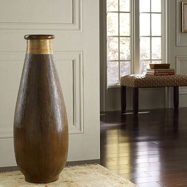 Wood Grain and Rattan Floor Vase (Indonesia)