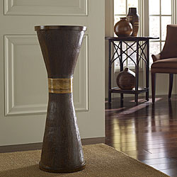 Wood Grain and Rattan Flute Floor Vase (Indonesia)