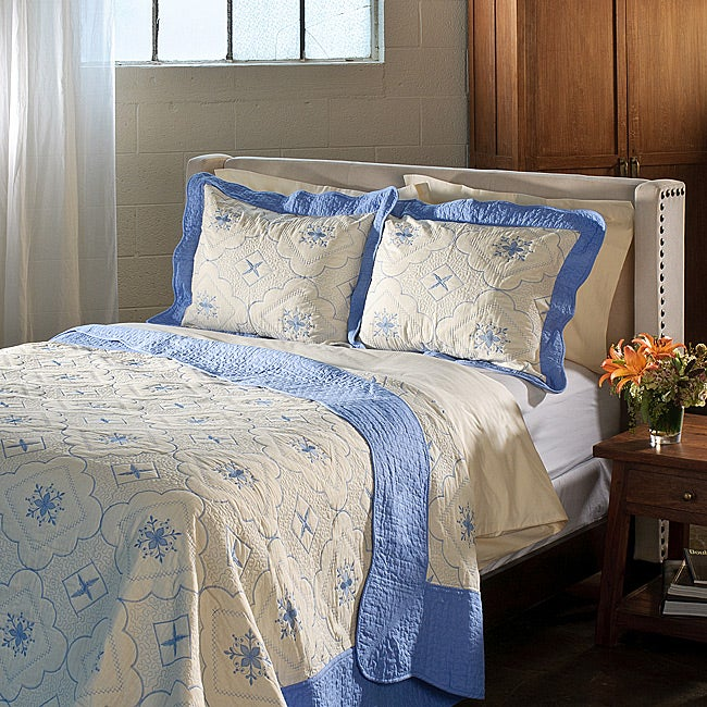Lace Embroidered Cotton Blue 3-piece Quilt Set