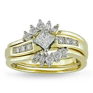 Miadora 14k Yellow Gold 5/8ct TDW Diamond Bridal Ring Set (G-H, I1-I2)