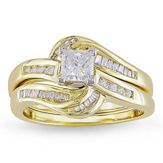 Miadora 14k Yellow Gold 4/5ct TDW Diamond Bridal Ring Set (G-H, I1-I2)