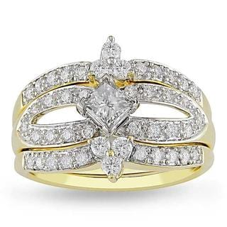 Miadora 14k Yellow Gold 4/5ct TDW Diamond Bridal Ring Set (H-I, SI1-SI2)
