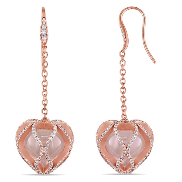 Miadora Signature Collection 18k Gold Rose Quartz and 2 3/8ct TDW Diamond Earrings (G-H, VS1-VS2)