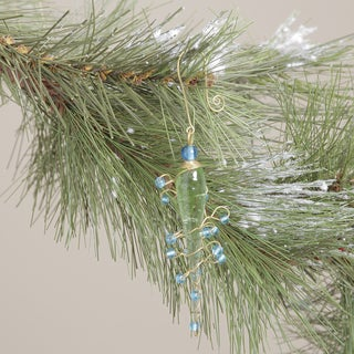Handcrafted Green Glass Icicle Ornament with Brass Hook (India)