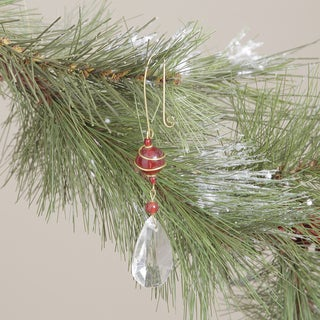 Crystal Glass Hanging Ornament with Brass Trim (Made in India)