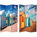 Wood and Canvas Double-sided Cabana Beach Room Divider (China)