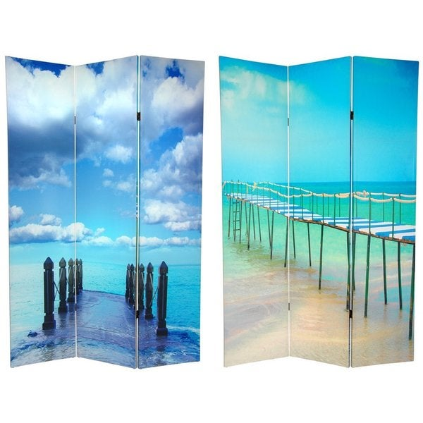 Wood and Canvas Double-sided Ocean Room Divider (China)