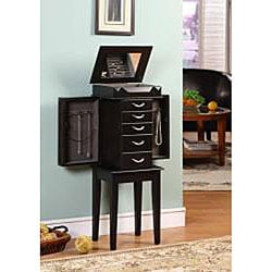 Granda Black 5-drawer Jewelry Armoire