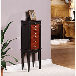 Sumba Black/Brown 6-Drawer Jewelry Armoire