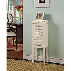 Diamante White 6-Drawer Jewelry Armoire