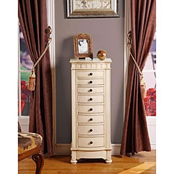 Muscatto Antique Beige 8-Drawer Charging Jewelry Armoire