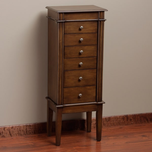 Elite Star Coffee Finish 6-Drawer Jewelry Armoire