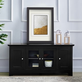 Porch & Den Leona 53-inch Black 4-door TV Stand Console