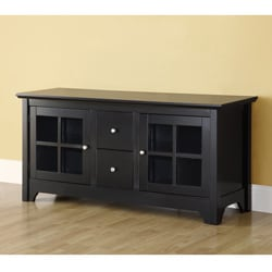 52 in. Black Solid Wood TV Stand