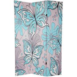Wood and Canvas Double-sided Butterflies Room Divider (China)