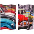 Wood and Canvas Double-sided Colorful Cars Room Divider (China)