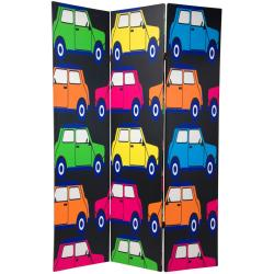 6-Feet Wood-and-Canvas Double-Sided Colorful Cars Room Divider (China)