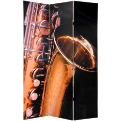 Wood and Canvas Double-sided Music Room Divider (China)
