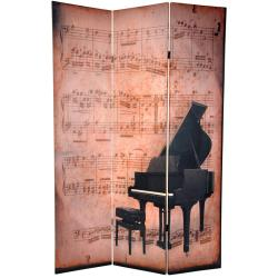 Canvas 6-foot Double-sided Piano/ Phonograph Room Divider (China)