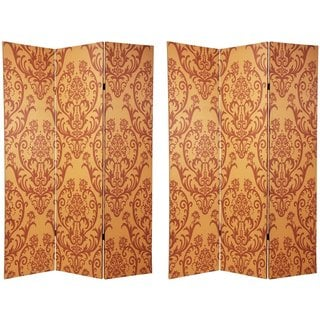 Wood/Canvas 6-Foot Double-Sided Damask Room Divider (China)