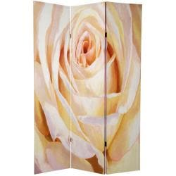 Canvas 6-foot Double-sided Solitaire Rose Room Divider (China)