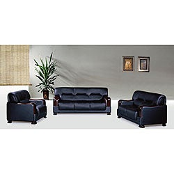 Pearland 3-piece Black Leather Sofa Set
