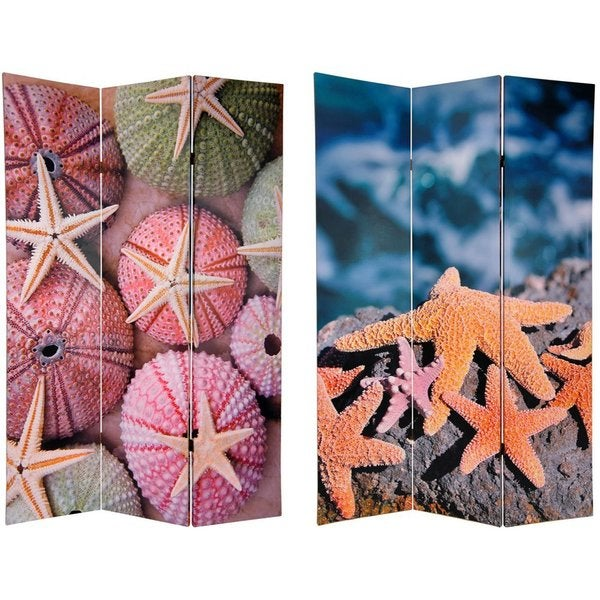 Canvas 6-foot Double-sided Starfish Room Divider (China)