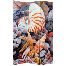 Canvas 6-foot Double-sided Seashells Room Divider (China)