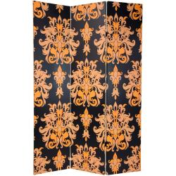 Canvas 6-foot Double-sided Damask Room Divider (China)