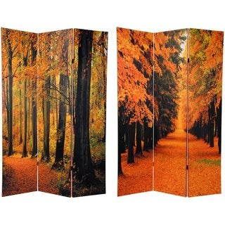 Canvas 6-foot Double-sided Autumn Trees Room Divider (China)