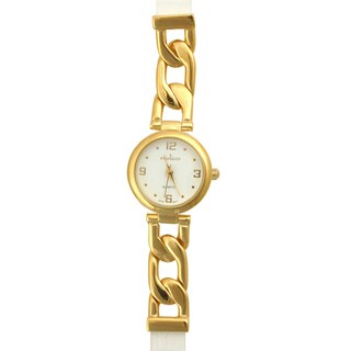 Peugeot Women's Goldtone Watch with White Leather Strap