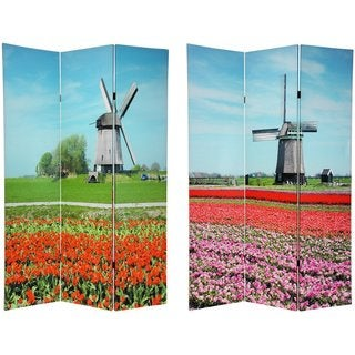 Canvas 6-foot Double-sided Windmills Room Divider (China)