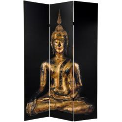 Canvas 6-foot Double-sided Thai Buddha Room Divider (China)