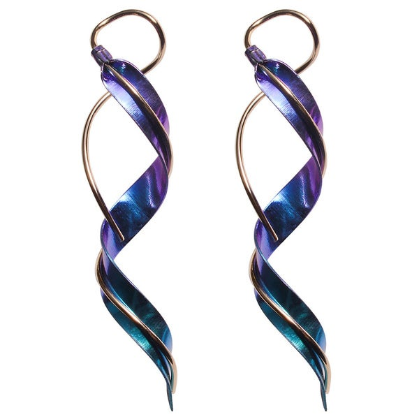 Goldfill, Alloy and Niobium Spiral Earrings