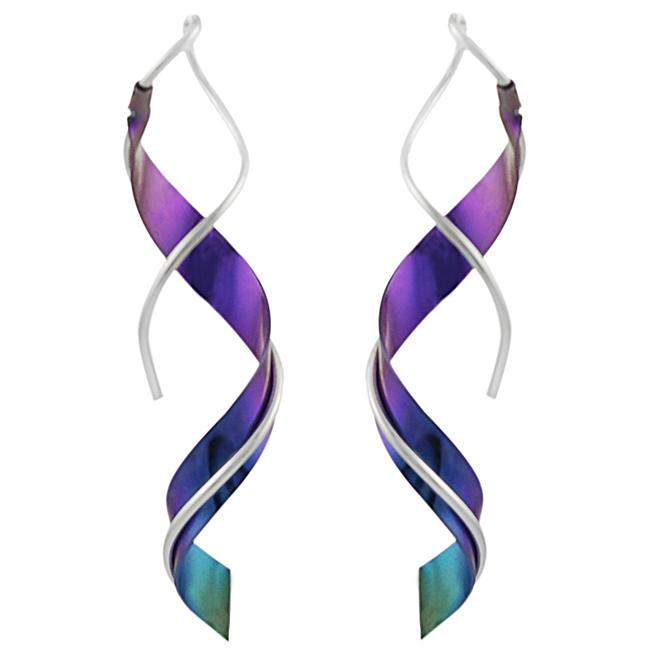 Journee Collection Sterling Silver and Niobium Spiral Earrings