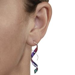 Tressa Sterling Silver and Niobium Spiral Earrings