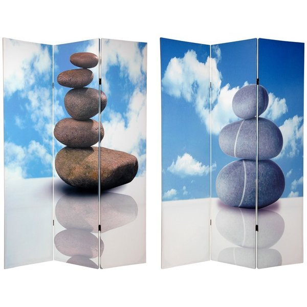 Canvas 6-foot Double-sided Zen Rocks Room Divider (China)